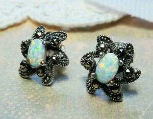 My S Collection 925 Sterling Silver, Marcasite & Opal Flower Stud Earrings