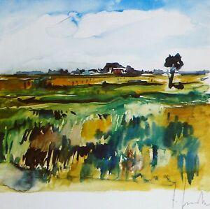 Bernhard ? Hardtke Autumn Landscape HAND SIGNED 1985 LITHOGRAPH SWISS ? ARTIST