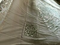 Beautiful Vintage Handmade Filet Lace Tablecloth