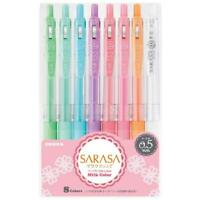 Zebra Sarasa Clip Gel ink ball point pen 0.5mm, Milk Color 8 pen Set
