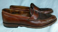 Allen Edmonds Leyland Brown Leather Woven Split Toe Loafers Shoes Men Sz 10.5 D