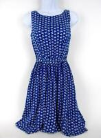 DOROTHY PERKINS Swan Print Fit & Flare Dress Sleeveless Tie Waist Blue Sz 4
