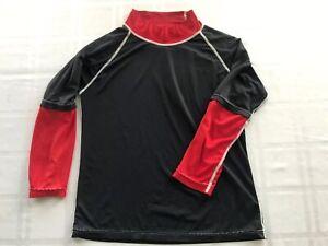 Sun Skinz Youth Sz 10 Rashguard Max UV Sun Protective Swim Shirt Black/Red TS9