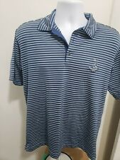 Men's Nike Dri-Fit UV Blue White Striped Pinehurst 1895 Golf Polo - Medium