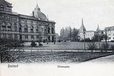 19341 tolle AK Rostock Theater Platz mit Gebäuden um 1905