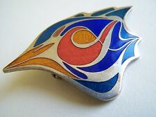 Vintage Silver Inlay Bird Head Pin Brooch signed Nouvelle Ligne William Scully