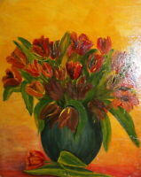 Vintage post impressionist oil painting still life with flowers signed