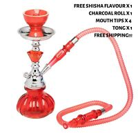 Hookah Red Pumpkin Shisha Pipe with Flavour x 1, Charcoal x 1, Mouth Tips x 4
