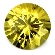 5.5mm Round Certified Natural Unheated Yellow Sapphire 0.76ct Brilliant Cut Gem