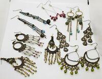 Art Deco Style Filigree Brass Long Faux Glass Beaded Dangle Earrings  7 Pair