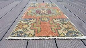 "Beautiful Antique 1900-1930's Wool Pile,Tribal Rug, Cappadocia 1'5""x 3'"