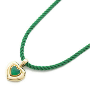 Van Cleef & Arpels Cool Heart Necklace collier K18 750 Yellow Gold Green Used