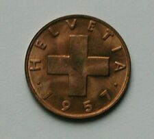 1957 B SWITZERLAND Swiss Coin - 2 Rappen - MS UNC - toned-lustre