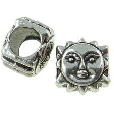 Wholesale Bulk Lot 50 Tibetan Silver Tone Figural Sun Face European Spacer Beads