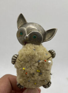Vintage Silver Unique Cat With Rhinestone Eyes Mouth Sew Pin Cushion