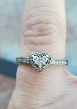 10 Karat White Gold Diamond Heart Ring 10K 417