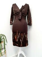 M&S Per Una Womens Brown Satin Pencil Dress With Raw Silk Ribbon Size Uk 10 12