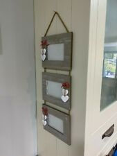 Natural wood - triple photo hanging picture frames