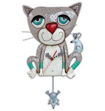 MICHELLE ALLEN Designs WALL CLOCK Decor GREY KITTEN CAT Swing Pendulum MOUSER