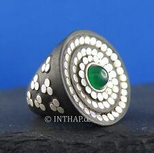 Ring - Fingerring aus Ebenholz mit Silber und grünem Achat Damenring |In88-14
