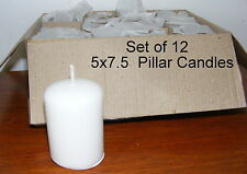 Pillar Candles - 5x7.5 cm 2x3 - White unscented - Wedding Bulk Set of 12 - CA06