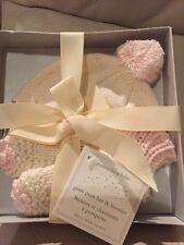 Pottery Barn Kids Pom Pom Hat & Booties Socks Baby Nursery Gift Set Pink 3-6 mos