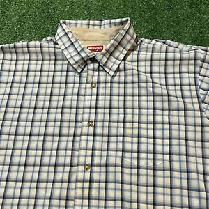 Wrangler Button Up Shirt Mens XL Adult Plaid Blue Collared Wrinkle Resistant USA
