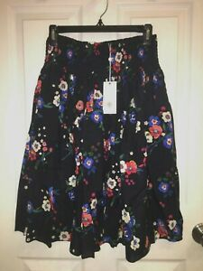 NWT $348 Tory Burch Women Blaire Floral Silk Wool Skirt Pansy Bouquet Navy