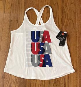 Under Armour Women's UA Freedom USA Champ Tank Shirt 1358100-100 NWT Large