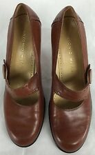 Antonio Melani Mary Jane Pump Strap Rounded Toe Glove Leather Lgt Brown 8.5 M