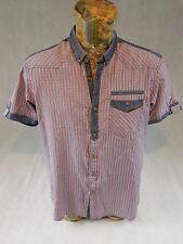 Missmatch Mens Shirt Pink Blue Plaid XL Hand Finished 100% Cotton Short Sleeve