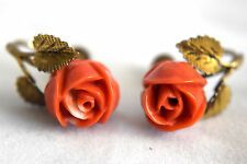 Vintage .835 Chinese Silver and Natural Untreated Coral Screwback Earrings