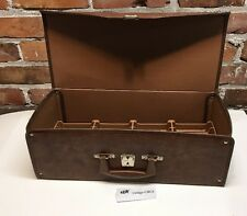 VTG Brown FAUX LEATHER 8 TRACK CASSETTE STORAGE CASE, Holds 24 Tapes