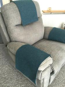 Chair Back Arm Cover Slip Cap Antimacassar Sofa Armchair REAL TEAL Lined x each