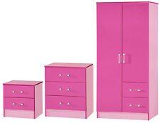 Pink High Gloss Two Tone 3 Piece Bedroom Set Furniture Units Double Wardrobe