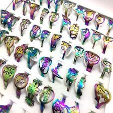Wholesale 30 Laser Rainbow stainless steel rings Women Men Ring Jewelry lots