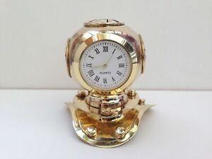 Mini diving helmet clock divers nautical hampton solid polished brass finish