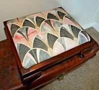 Antique Rectangular Mahogany Footstool Newly Upholstered Top (Art Nouveau/Deco)