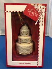 Lenox 2018 Annual Our First Christmas Porcelain Cake Ornament Nib