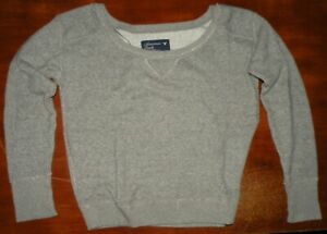 AMERICAN EAGLE Womans GRAY Cropped SWEATSHIRT Size Medium DISTRESSED Shirt