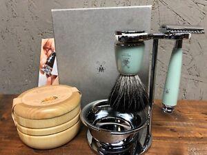 MÜHLE RYTMO Mint Resin 4-piece Black Fiber Safety Razor Shaving Set