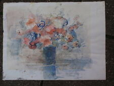 VINTAGE UNSIGNED ORIGINAL PEN INK WATERCOLOUR STILL LIFE PAINTING ON PAPER