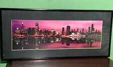 "Chicago Evening Skyline Lake Photo Framed Black Matted 18"" x 8""  Wall Art"