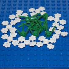 LEGO: Pack of 10 Green Stems & 32 White Flowers. ( 3741 / 3742 ). BRAND NEW.