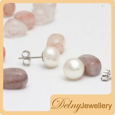 Brand New 925 Sterling Silver White Freshwater Pearl Earring Studs 7-7.5mm Delny