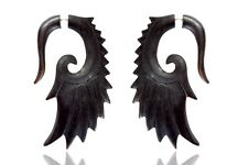 Tibetan Black Wooden Handmade Tribal Wings Design Fake Guage Wood Earring WER372