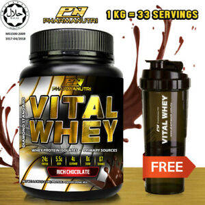 Vital Whey Halal 1kg/2.2lbs, 24g Protein Isolate,33 Servings + FREE Shaker
