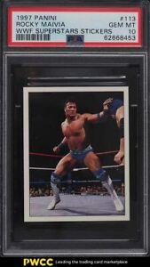 1997 Panini WWF Superstars Stickers Rocky Maivia The Rock #113 PSA 10 GEM MINT