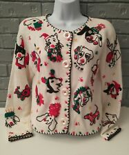 Michael Simon Christmas Dog Puppies Cardigan Sweater - Size Small