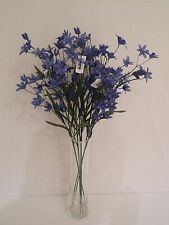 6x FAUX SILK MULTI-HEADED BLUE PERUVIAN LILY STEMS WITH LEAVES STEMS 68CM